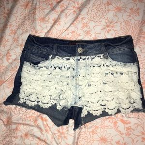 Pants - Booty shorts with lace detail